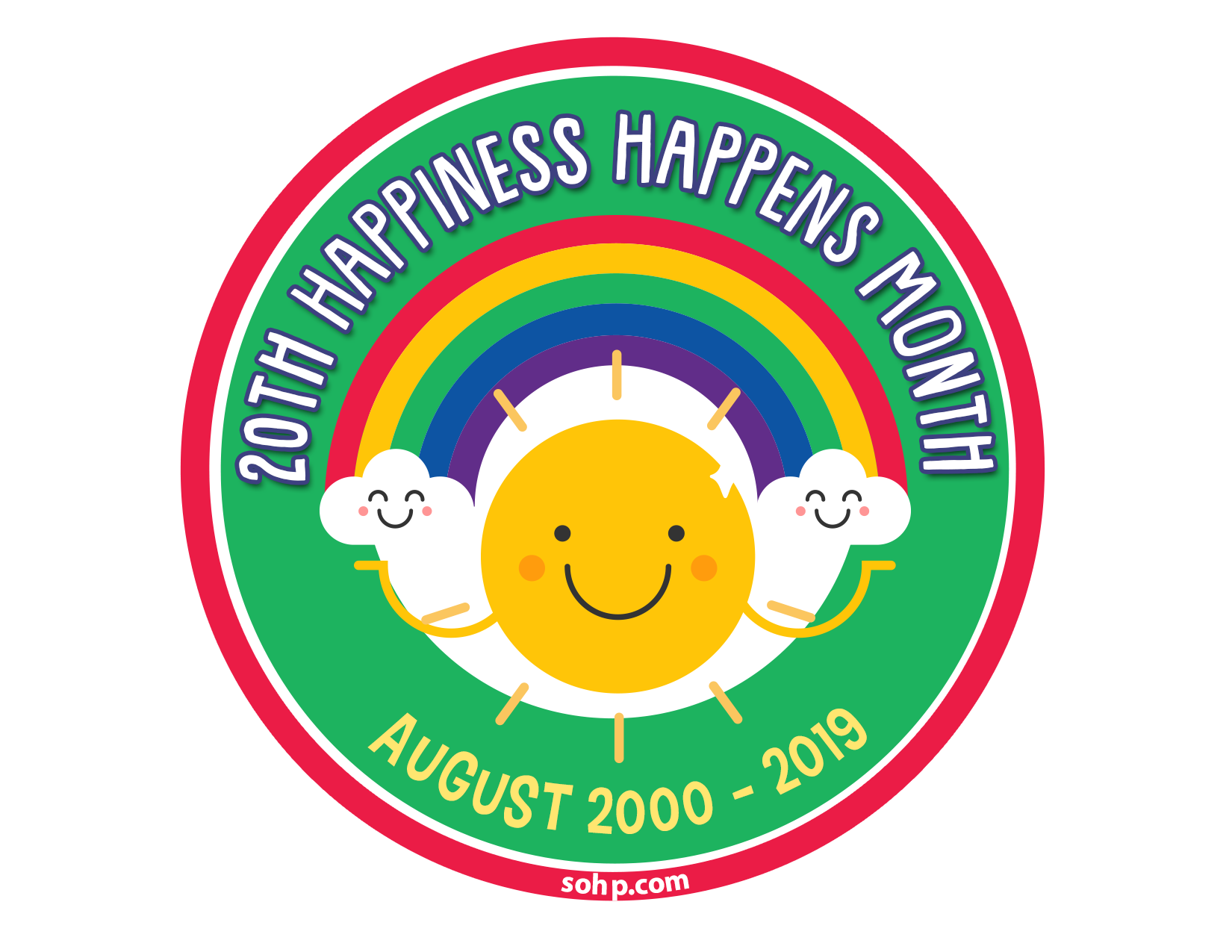 Happiness Happens Month Logo, featuring a smiling cartoon sun and smiling cartoon clouds