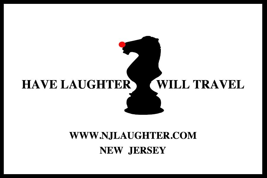 "Image of the business card featuring a ""Palladin-style"" Knight chess piece, reading: Have Laughter Will Travel."""
