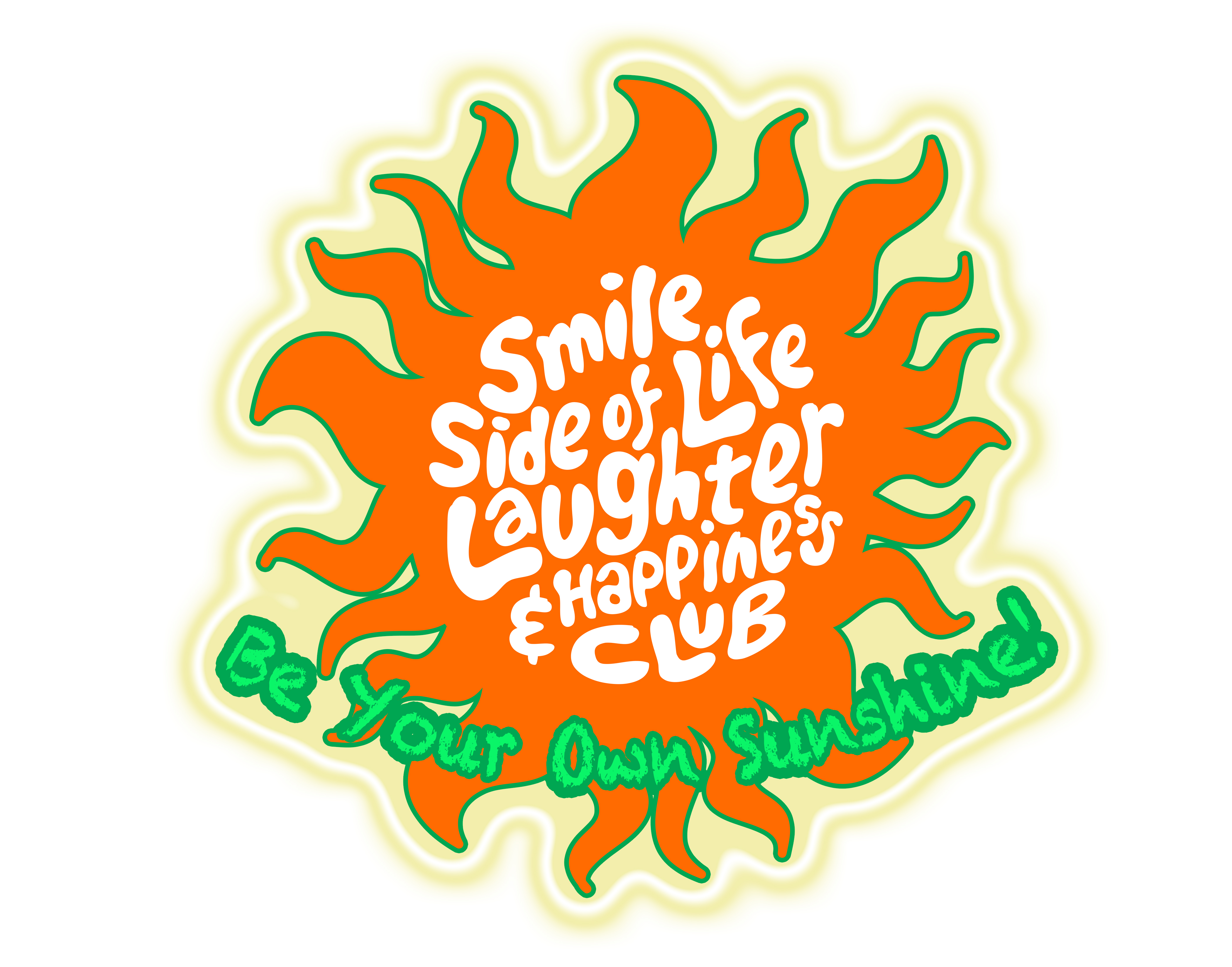 The Smile Side of Life Laughter and Happiness Club logo, a cartoon orange sun with the name written inside of it.